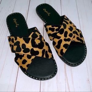 Leopard Criss Cross Sandals with Stud Detail